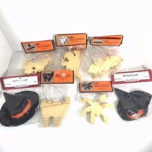 8 Unpainted Halloween Wooden Craft Figures 2 Hats